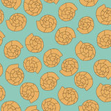 Shell seamless pattern on the blue background. Orange shell seamless pattern on the blue background Royalty Free Stock Photography