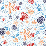 Shell seamless pattern on spotted background Royalty Free Stock Images