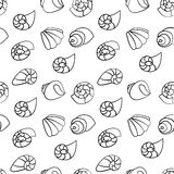 Shell seamless pattern on the white background. Shell seamless vector on the white background Royalty Free Stock Photos