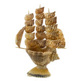 Shell ship. A ship made of shells statuette angled view Stock Photos