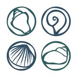 Shell stamps set. Set of various shell stamps - vector illustration Royalty Free Stock Images