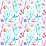 Shell, starfish,seaweed, coral and bubbles seamless pattern. Underwater world image on a white background. Watercolor hand drawn illustration Royalty Free Stock Photos