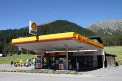 Shell station. SWITZERLAND - JULY 19: Shell gas station on July 19, 2010 in Davos, Switzerland. According to Fortune Global 500, Shell was the largest royalty free stock images