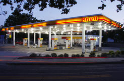 Shell Station. A lit up gas station in Asheville, North Carolina Royalty Free Stock Photos
