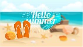 Shell sulla spiaggia, sabbia dello scisto, mare, oceano, iscrizione dello sprazzo di sole Illustrazione di vettore Immagine Stock