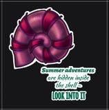 Shell Summer-de avonturen zijn verborgen binnen shell - lo royalty-vrije illustratie