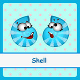 Shell, two funny characters on a blue background Stock Photography