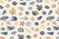 Shell undersea world pattern Royalty Free Stock Image