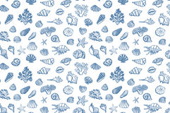 Shell undersea world vector pattern Royalty Free Stock Photography