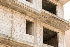 Shell of an unfinished residential building stock photos