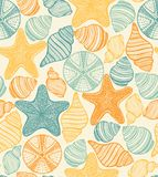 Shell Urchin and Starfish Hand Drawn Pattern. Shell Urchin and Starfish Seamless Pattern. Graphic Sea Background in Hand Drawn Style for Surface Design Banner Royalty Free Stock Image