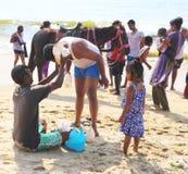 Shell vendor on beach madrass chennai india Stock Photos