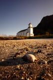 Shell voor Gimsoy-kerk bij Lofoten-eilanden, Noorwegen Royalty-vrije Stock Fotografie