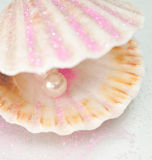 Shell wuth pearl. Beautiful shiny pearl in seashell close up Royalty Free Stock Image