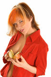 Shell you be it. Pretty young women with apple on white Stock Images