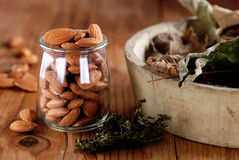 Shelled almonds in the jar Royalty Free Stock Photo