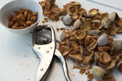 Shelled almonds, nutcracker and shells Royalty Free Stock Photo