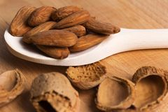 Shelled almonds on a spoon. And light wood Royalty Free Stock Photo