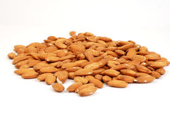 Shelled Almonds on White Royalty Free Stock Photos