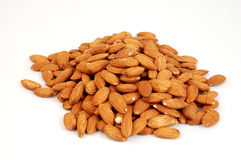 Shelled Almonds on White Stock Photo