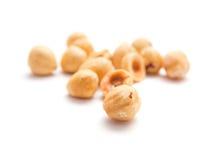 Shelled cleaned hazelnuts stock image