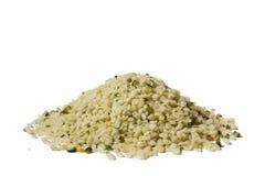 Shelled hemp seeds. On white background. Clipping path stock image
