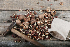 Shelled nuts in a bag Stock Images