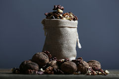 Shelled nuts in a bag Stock Image
