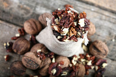 Shelled nuts in a bag Royalty Free Stock Images