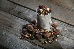 Shelled nuts in a bag Royalty Free Stock Photos