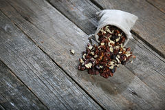 Shelled nuts in a bag Royalty Free Stock Photo