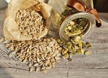 Shelled sunflower seeds and pumpkin seeds Stock Photos