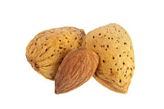 Shelled and unshelled almonds Stock Photography