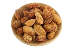 Shelled and unshelled almonds Royalty Free Stock Image