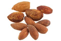 Shelled and unshelled almonds Stock Photos
