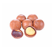 Shelled and unshelled macadamia nuts on white background Stock Images