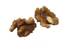Shelled walnuts #4, isolated. Pure white background royalty free stock photography