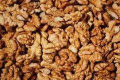 Shelled walnuts background Stock Photo