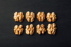 Shelled walnuts in a row on black Stock Images