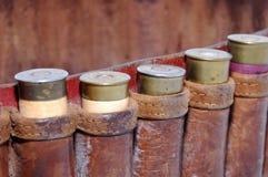 Cáscaras de escopeta en una correa imágenes de archivo libres de regalías