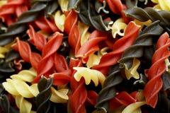 Shelles de las pastas del tricolore de Fusili Fotografía de archivo libre de regalías