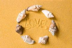 Shelles del amor en la playa Fotos de archivo