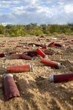 Shelles vacíos del arma del tiro Imagenes de archivo