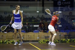 Shelley Kitchen vs Tania Bailey. Malaysia Open Squash 2008 quarter final match featuring Shelley Kitchen and Tania Bailey Royalty Free Stock Photos
