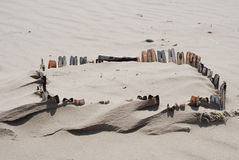 Shellfestung im Sand Stockbild