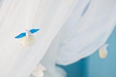 Shellfish fairy on net background Royalty Free Stock Photo