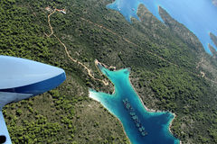 Shellfish farm on island Hvar from air Stock Photo