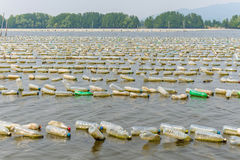 Shellfish farm from old plastic bottles in sea at Chanthaburi, T Stock Photo