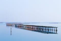 Shellfish farming from Po river lagoon, Italy. Scardovari beach. Italian rural landscape Royalty Free Stock Images
