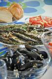 Shellfish and fish. On table, homemade Royalty Free Stock Photo